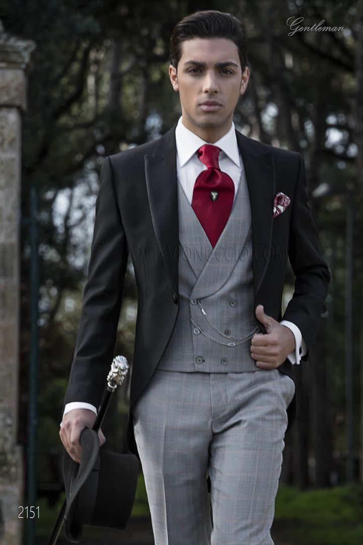 Bespoke Wedding suit in black wool with prince of Wales vest and pants