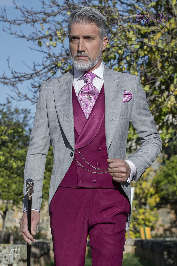Morning dress in Prince of Wales fabric with burgundy coordination