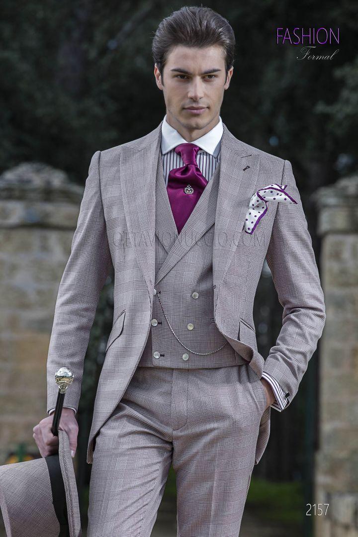 Abito da sposo fashion principe di galles check bordeaux