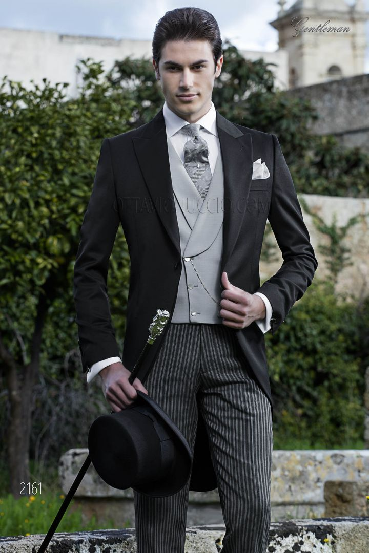 Italian style black morning dress in wool with pinstriped pants