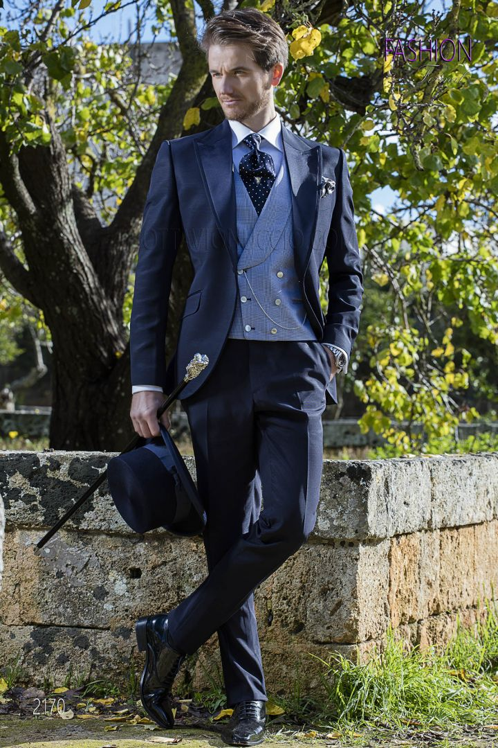 Blue high fashion italian wedding suit with Prince of Wales vest