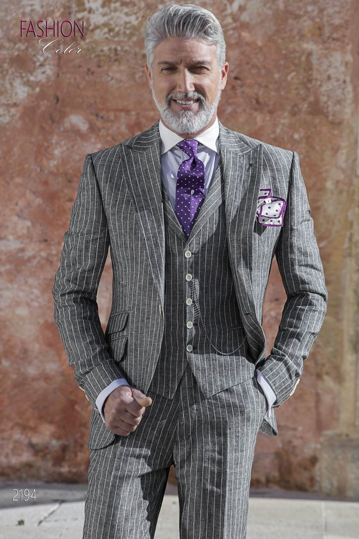 Wedding summer suit in gray striped linen with ticket pocket