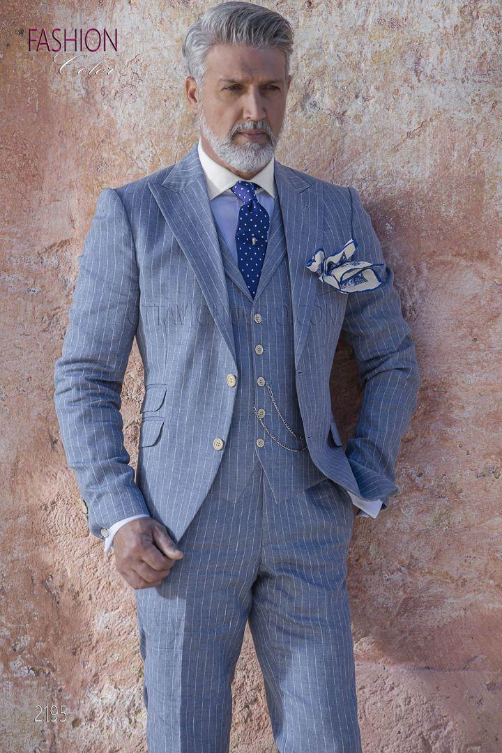 Abito uomo moda fashion, riga diplomatica gessata in lino celeste
