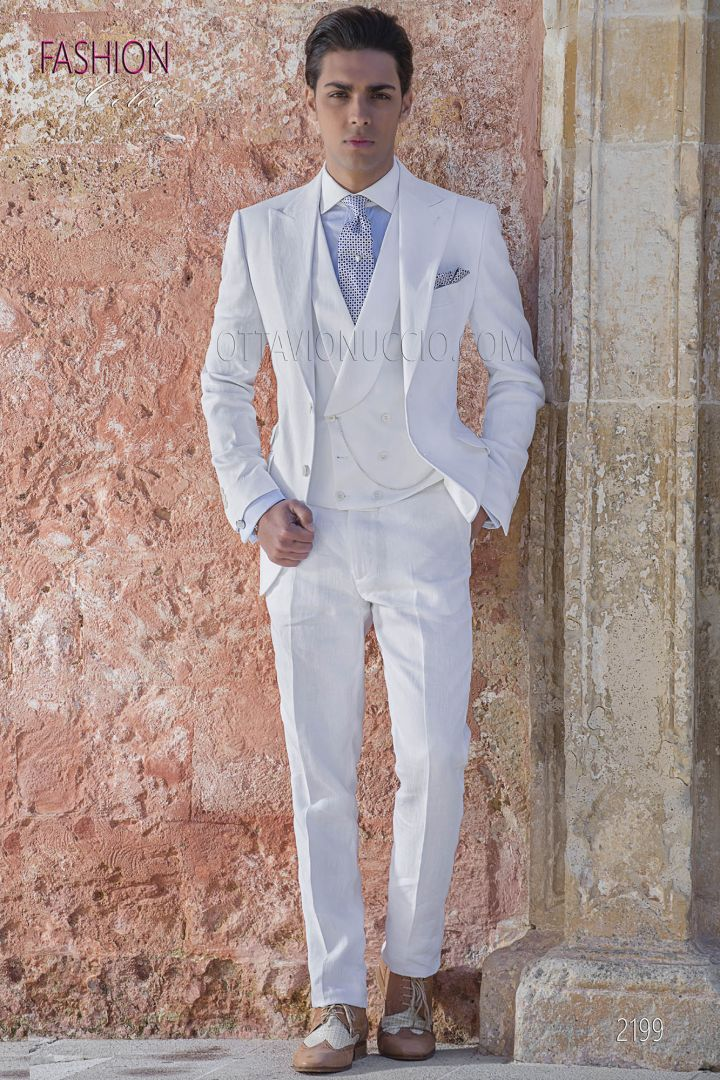 White spring summer italian wedding groom suit in linen