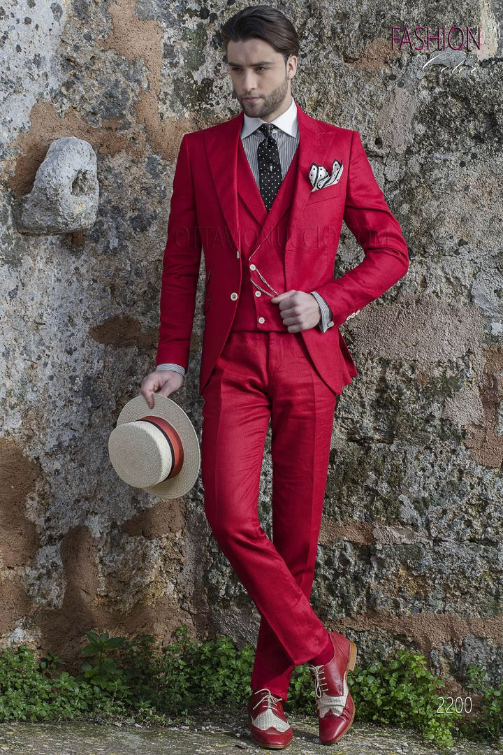 Italian wedding hippy suit for men in red linen