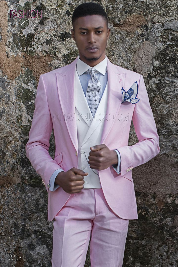 Italian morning suit in pink linen for summer wedding