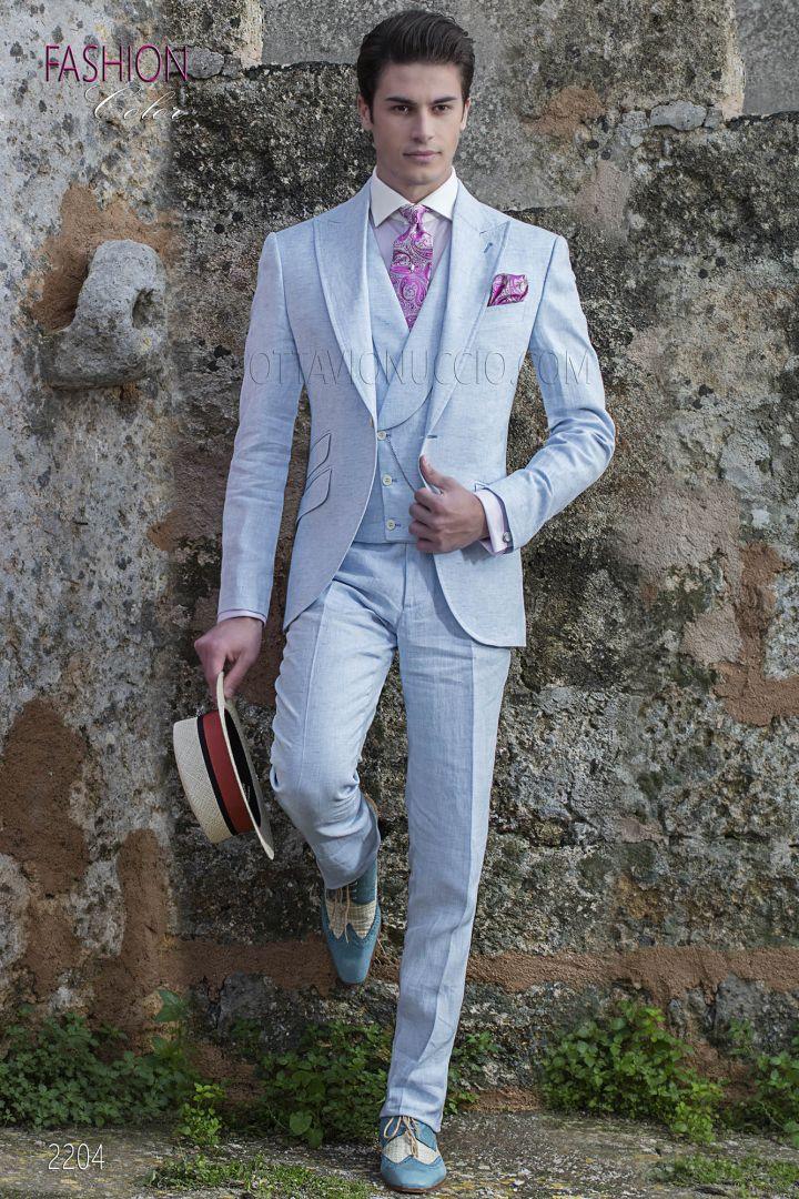 Abito vintage estivo moda sposo fashion puro lino celeste