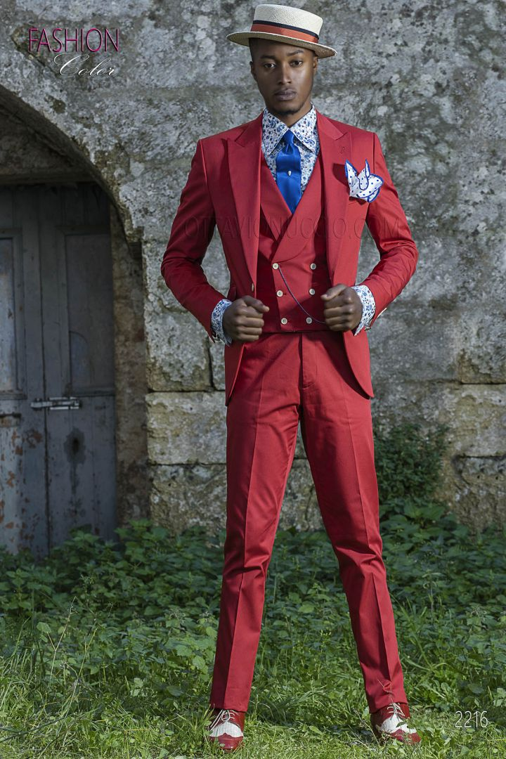 Formal italian suit outfit for groom in red cotton fabric
