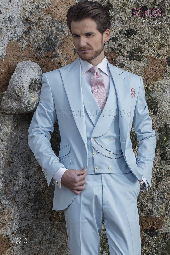 Italian spring summer wedding groom suit in sky-blue cotton