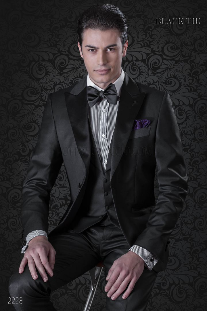 Italian bespoke tuxedo in black cool wool with peak lapels