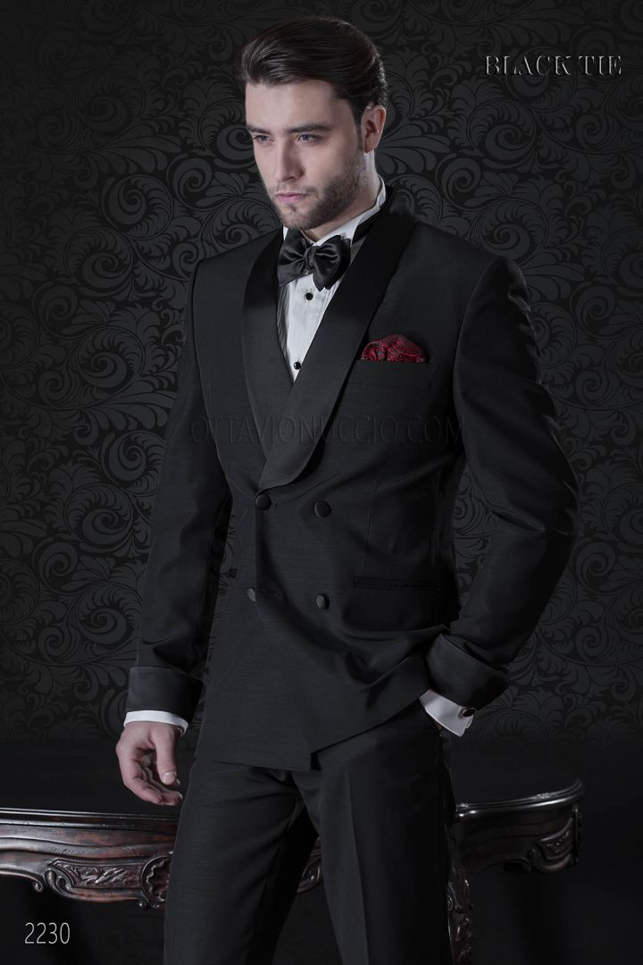 Italian double breasted tuxedo in black cool wool with shawl collar
