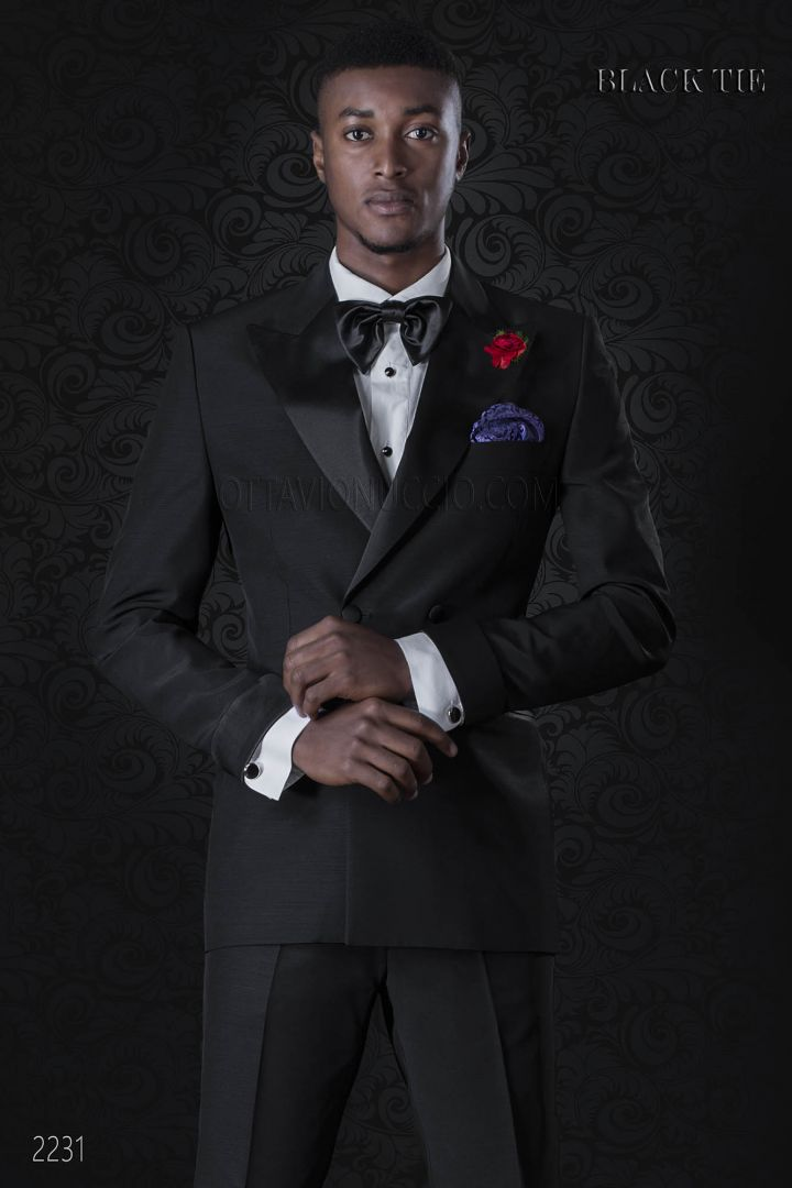 Italian double breasted tuxedo in black cool wool with peak lapels