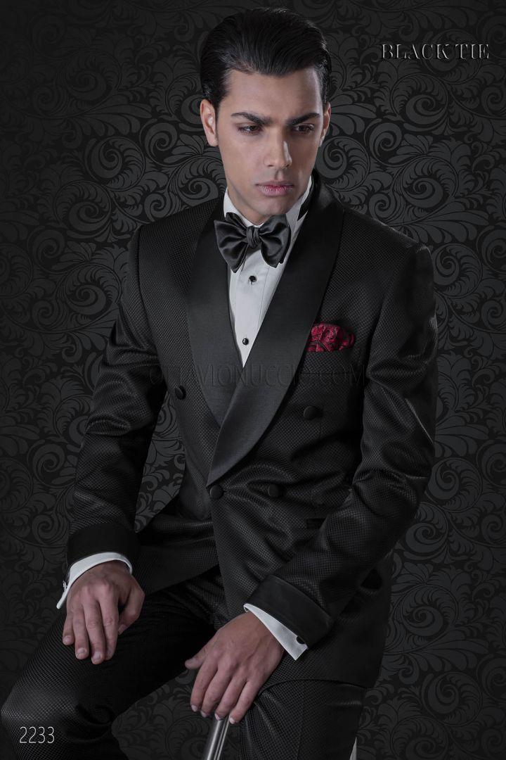 Italian bespoke black tuxedo with shawl collar