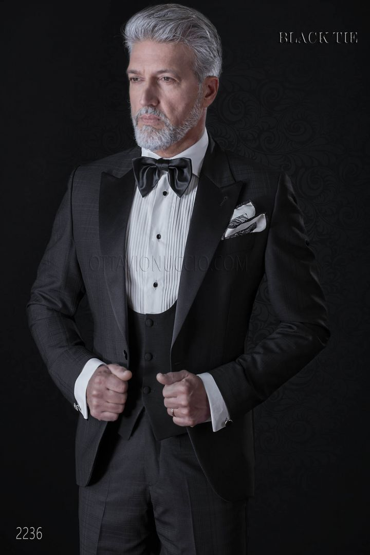 Smoking sposo nero elegante a quadri | Abito uomo elegante