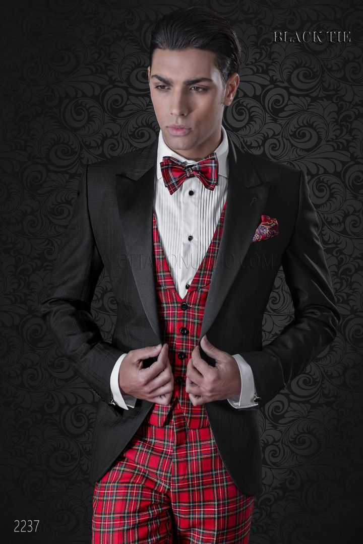 Giacca smoking nero con pantalone e gilet in tartan rosso