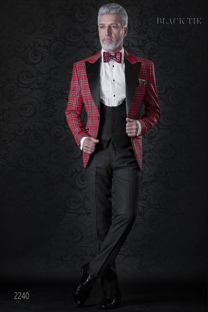 Red tartan italian tuxedo jacket with black trousers