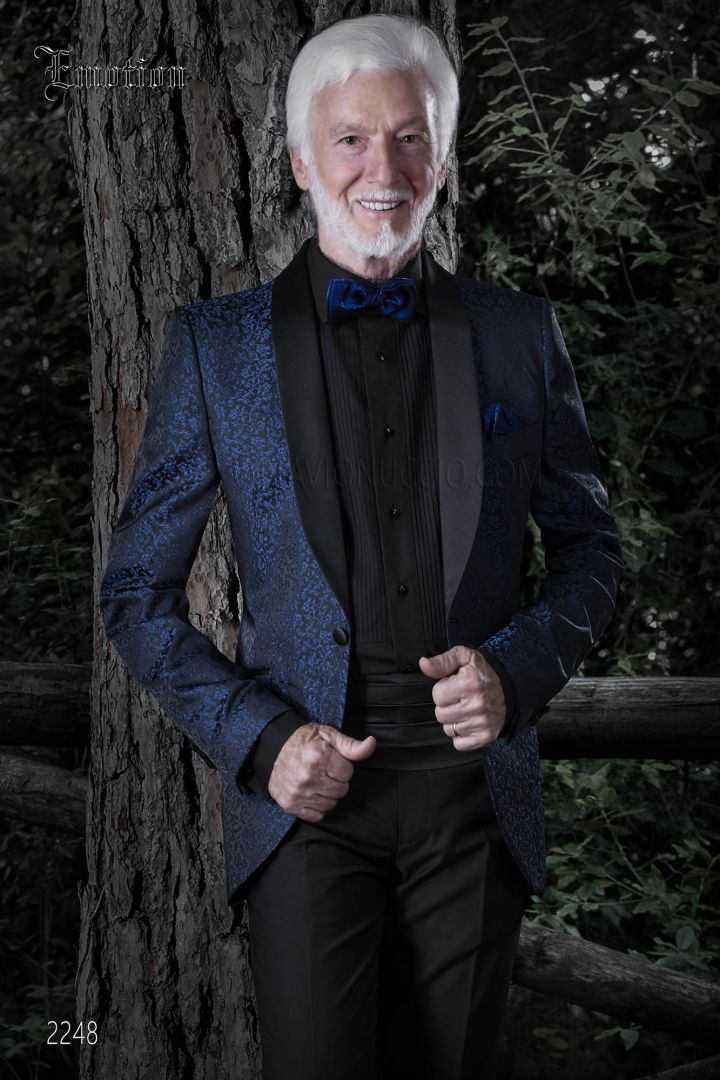 Luxury Blue Brocade italian Jacket with black shawl collar