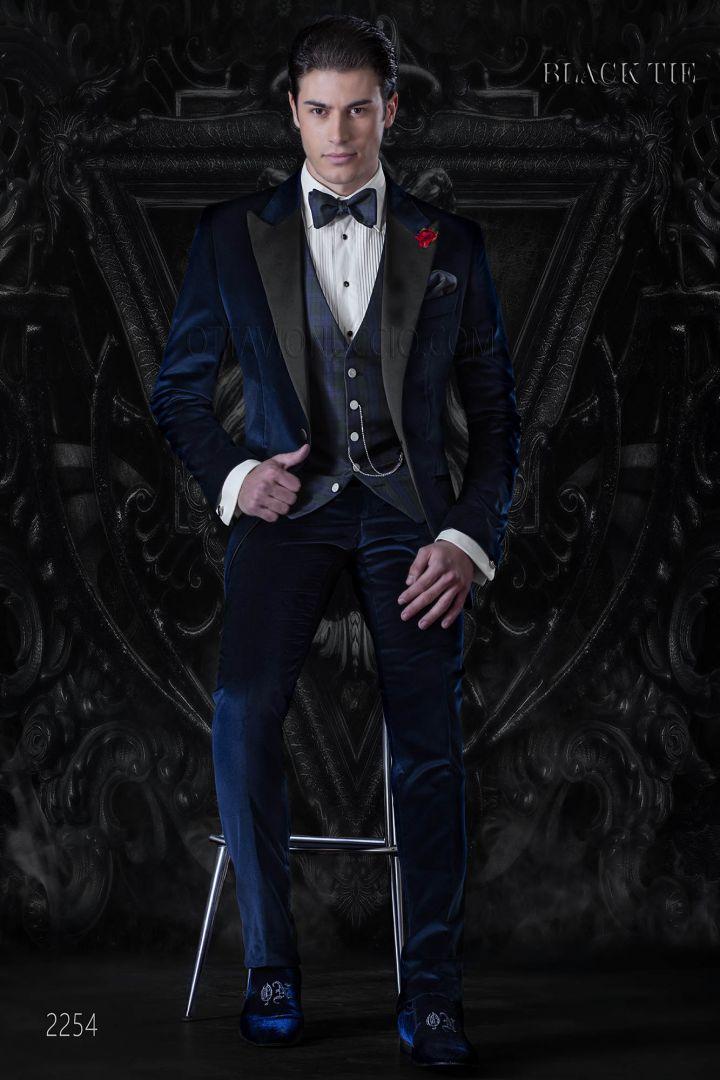 Italian bespoke tuxedo in blue cotton velvet for luxury events
