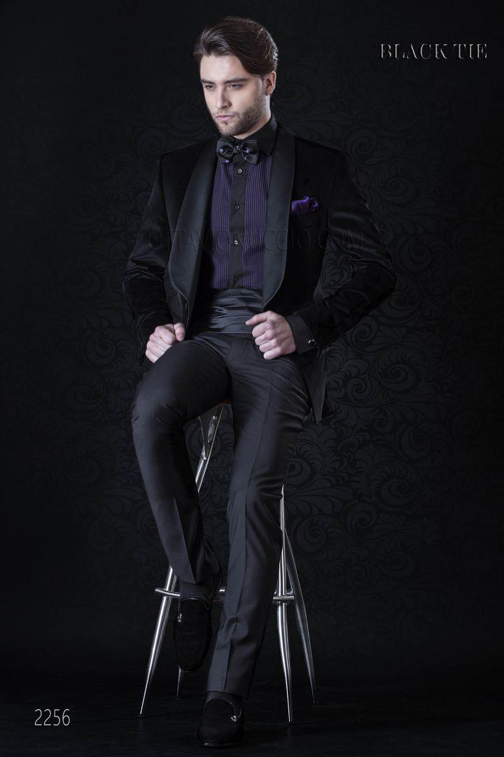 Smoking uomo da matrimonio in velluto nero | Abito da gala