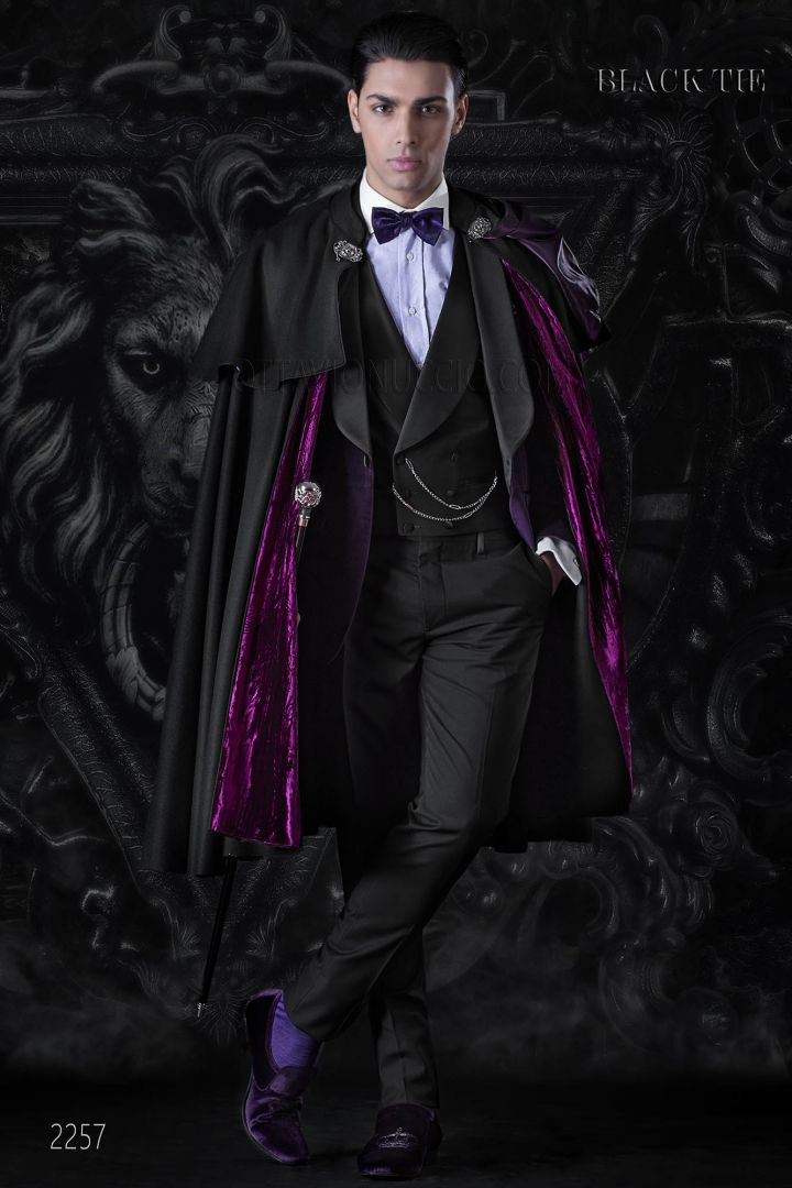 Luxury purple velvet tuxedo Italian style with shawl collar