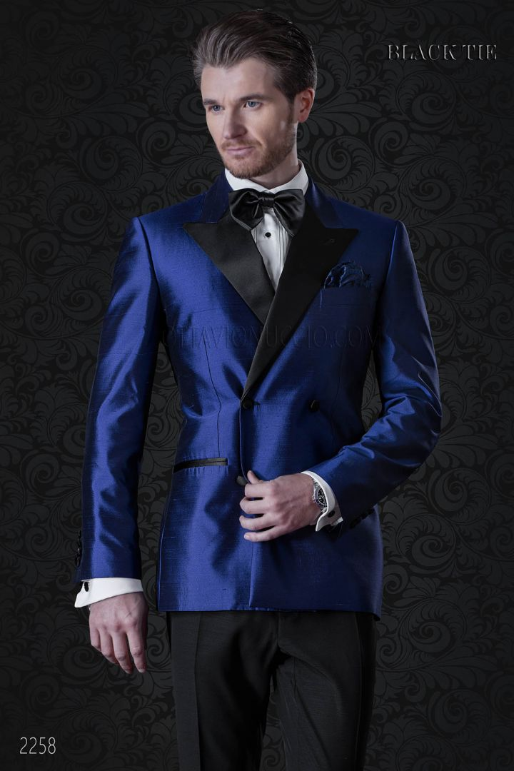 Italian bespoke royal blue double breasted tuxedo in shantung