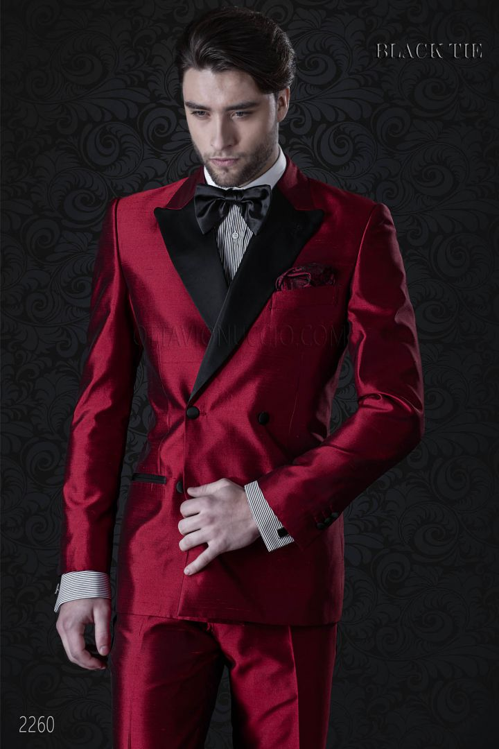 Italian luxury tuxedo in double breasted red shantung
