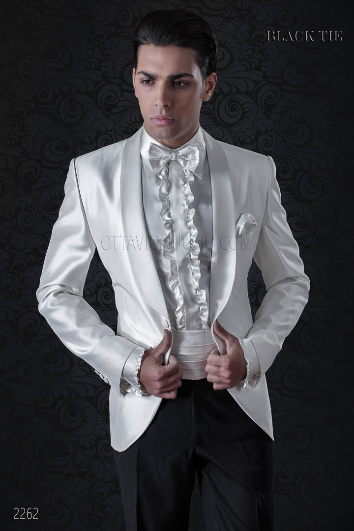 Italian Dinner Jacket in white shantung with black trousers