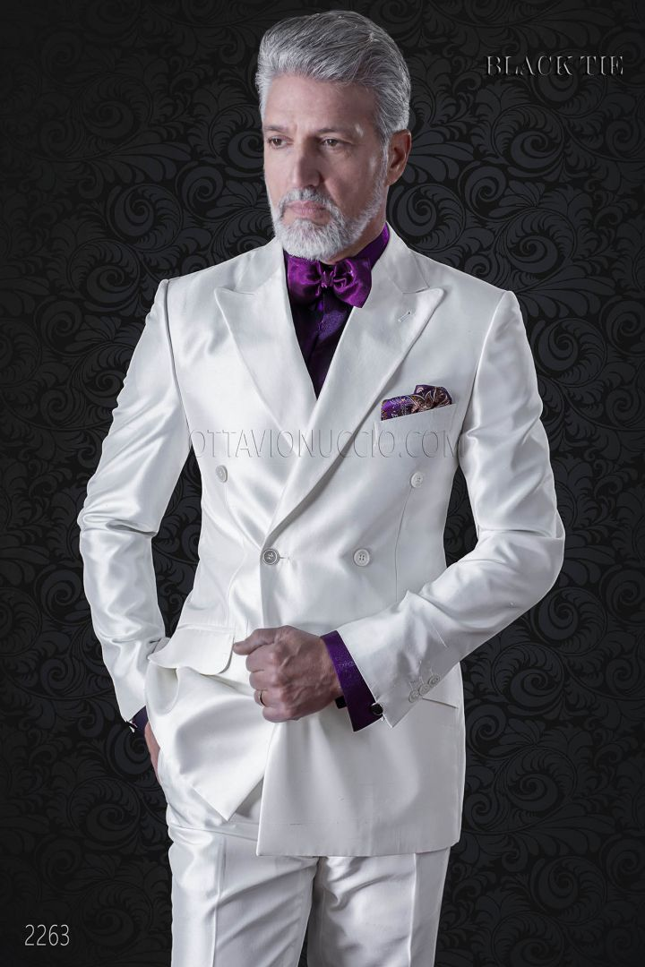Luxury italian double breasted suit in white shantung