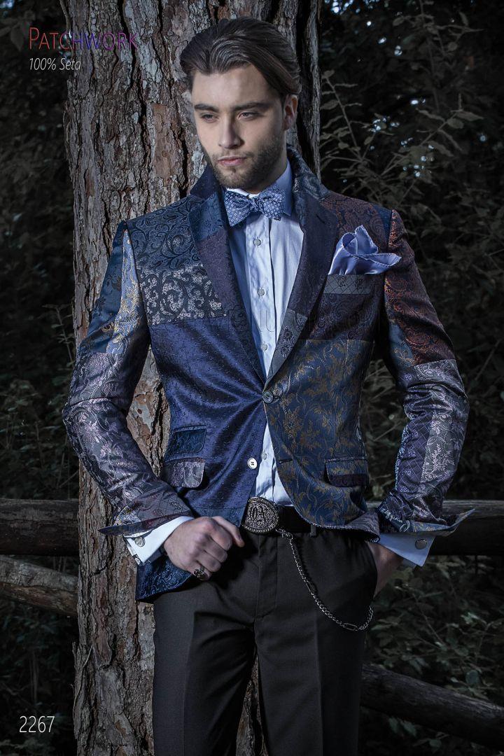 Patchwork Silk italian Jacket for men in blue tones