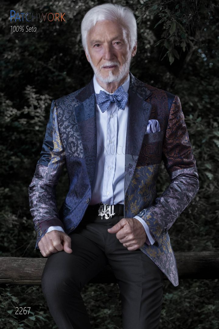Giacca uomo patchwork seta blu | Giacca prodotta su misura