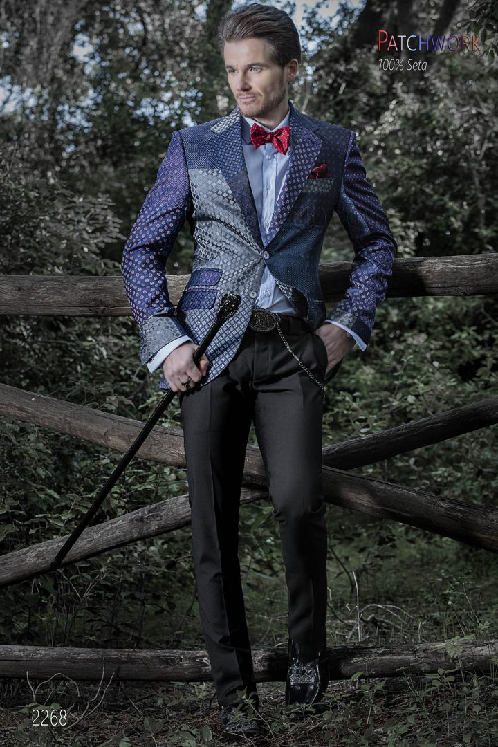 Patchwork Silk men Jacket in blue and violet tones