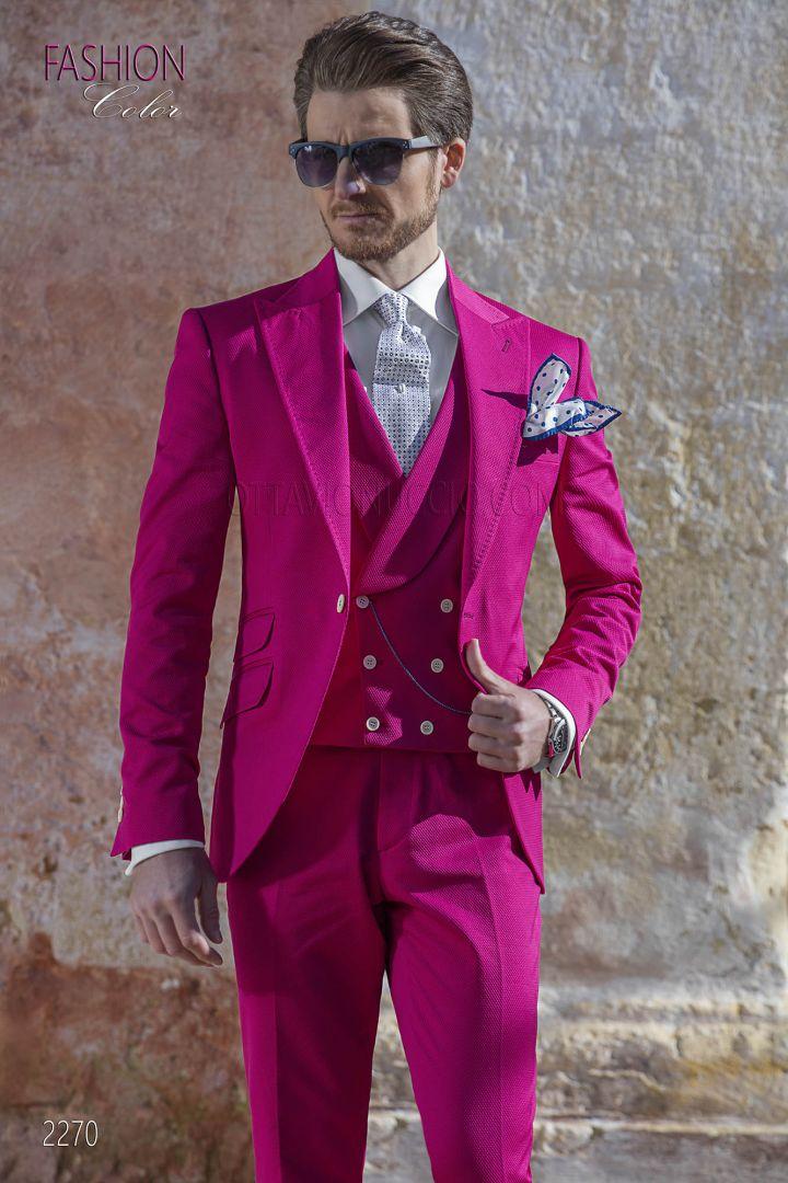 Abito cerimonia uomo vintage, moda sposo fashion puro cotone fucsia