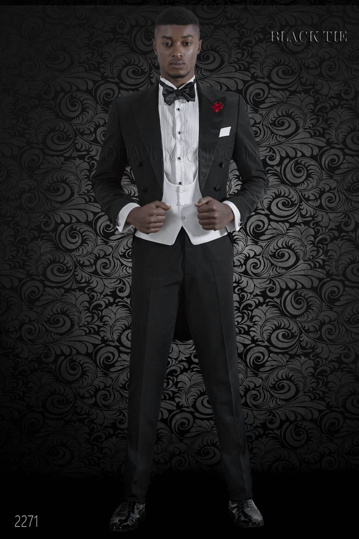 Italian luxury black Tailcoat with peak satin lapels