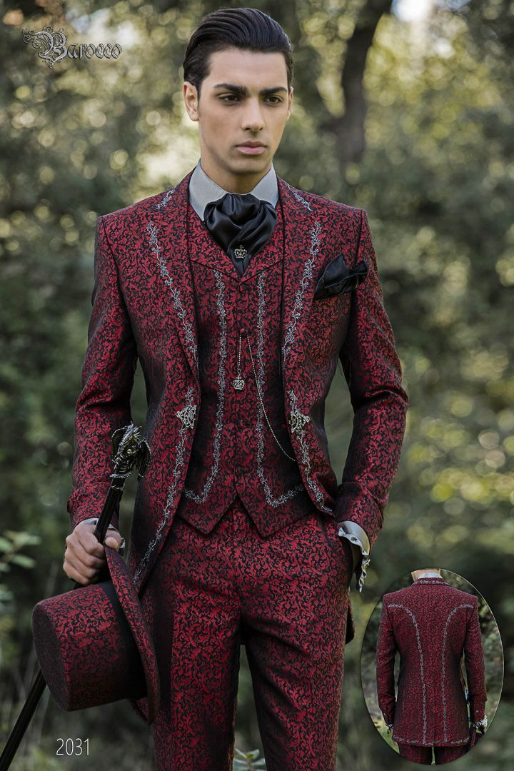 Baroque groom suit in red brocade fabric with silver embroidery