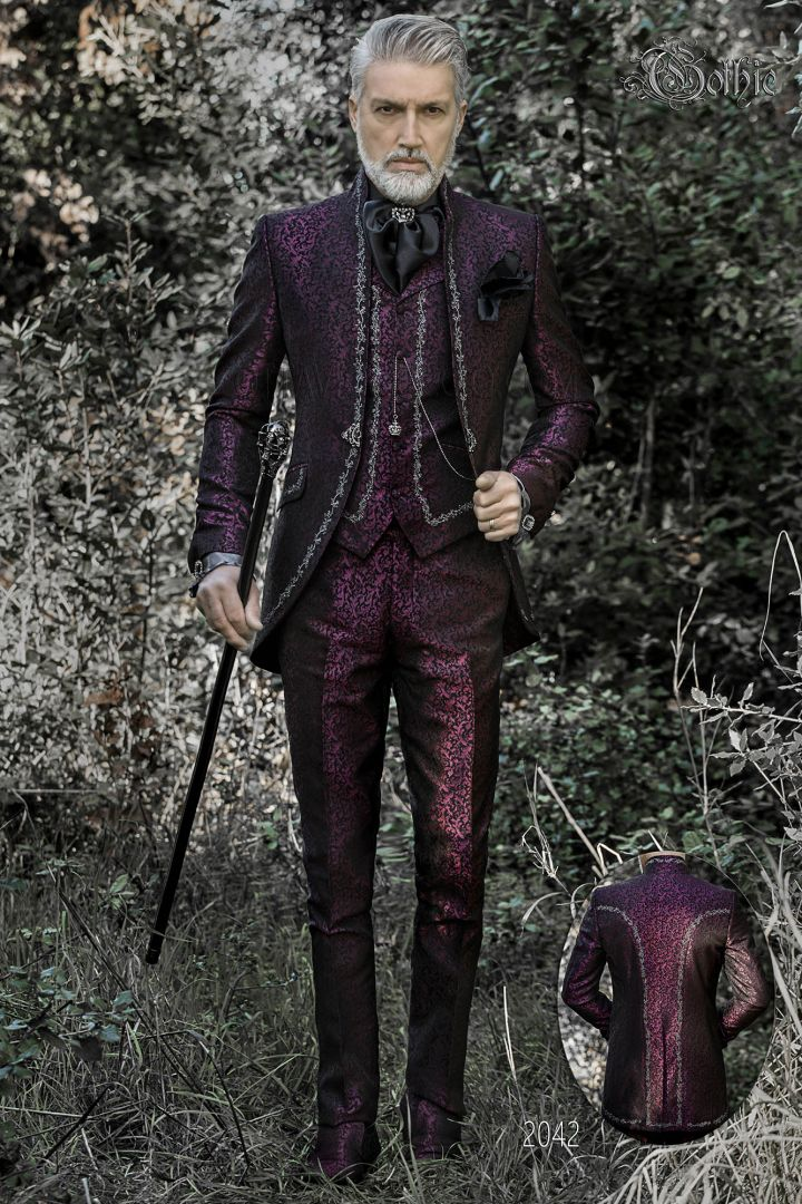 Luxury purple brocade wedding suit with mao collar and silver embroidery