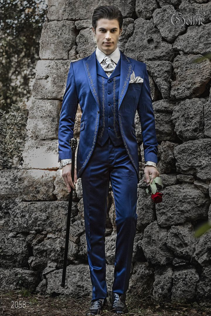 Blue gothic wedding groom suit in satin with silver embroidery