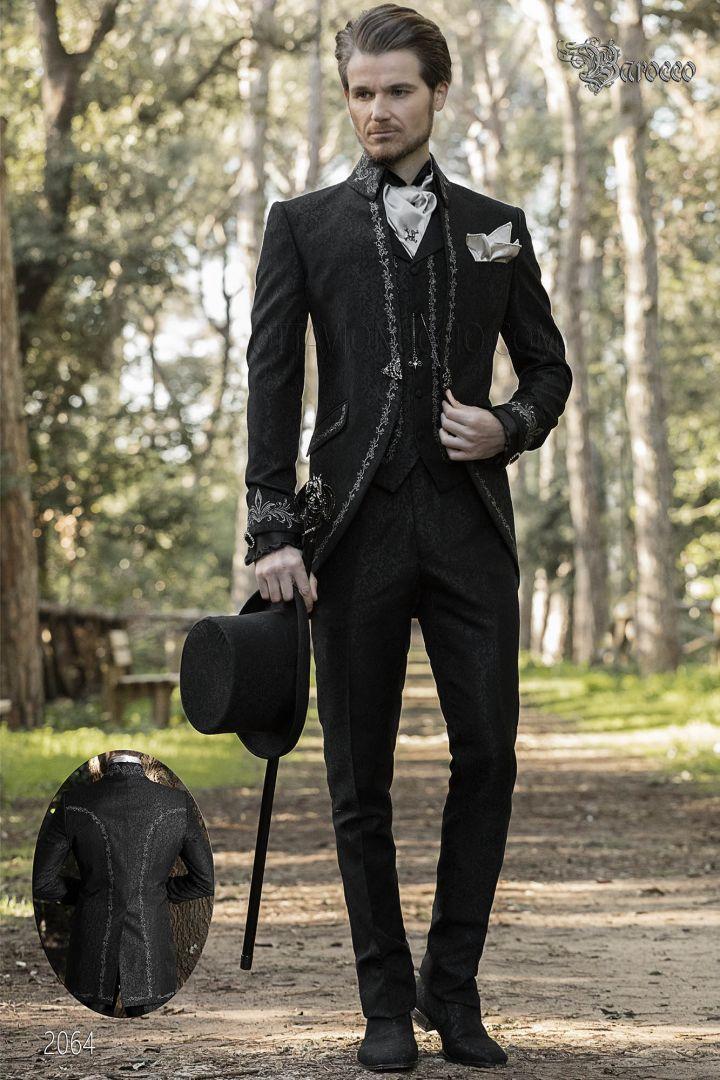 Gothic hochzeitsanzug schwarz, napoleon kragen mit silberstickerei