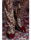 Scarpa bicolore vernice rossa inserto broccato oro rosso