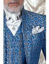 Cravattone d'annodare e fazzoletto in lurex grigio perla