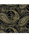 Fazzoletto in seta stampa cachemire nera e oro